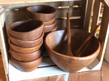 Load image into Gallery viewer, Teak Salad Bowl Set (13)