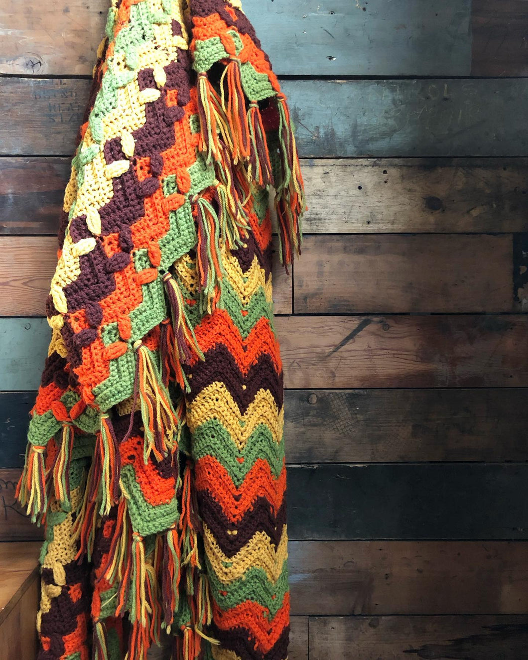 Brown / Yellow / Green / Orange Afghan