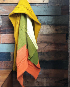 White / Mustard / Green / Orange Braided Blanket
