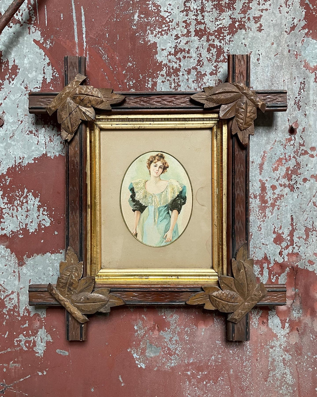 Antique Cross-Framed Portrait