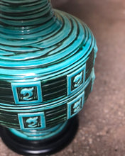 Load image into Gallery viewer, Large Turquoise Ceramic Lamp