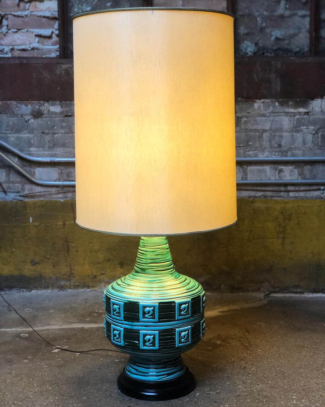 Large Turquoise Ceramic Lamp