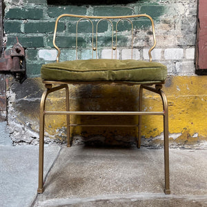 Gold Vanity Chair w/ Green Tufted Cushion