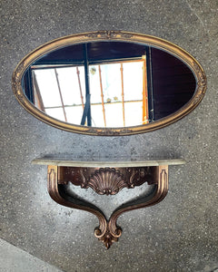 Ornate Mirror and Floating Shelf Set