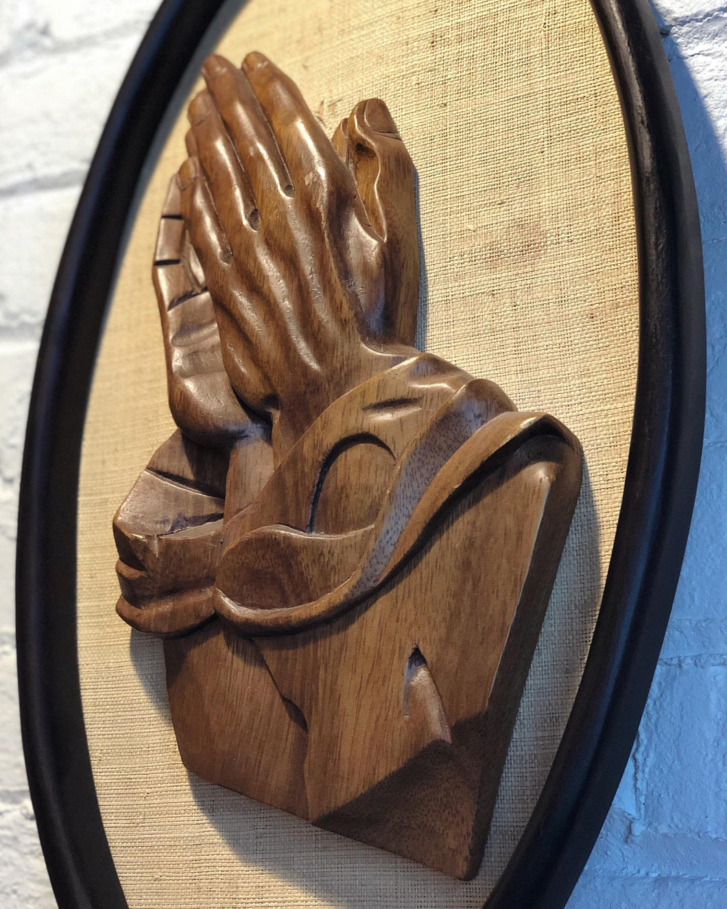 Carved Wood Prayer Wall Hanging
