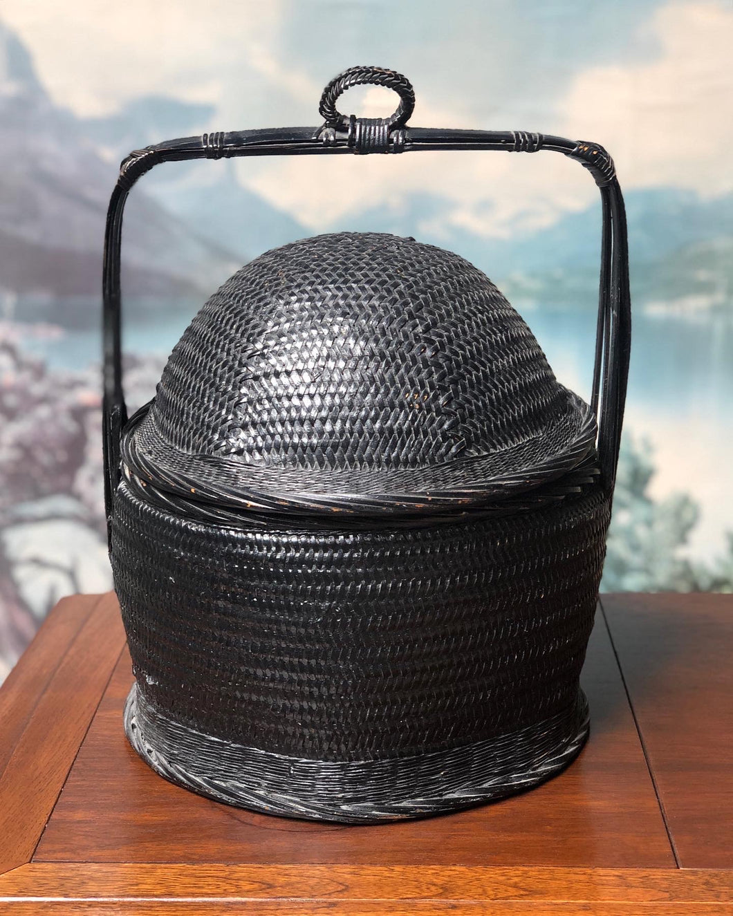 Black Woven Rice Basket