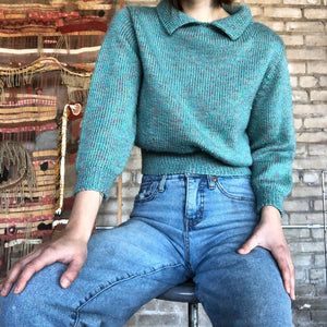 Homemade Teal Collared Cropped Sweater