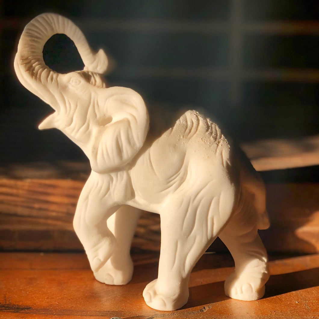 Sandy-Textured Elephant Figurine