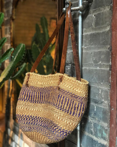 Woven Market Bag w/ Leather Straps