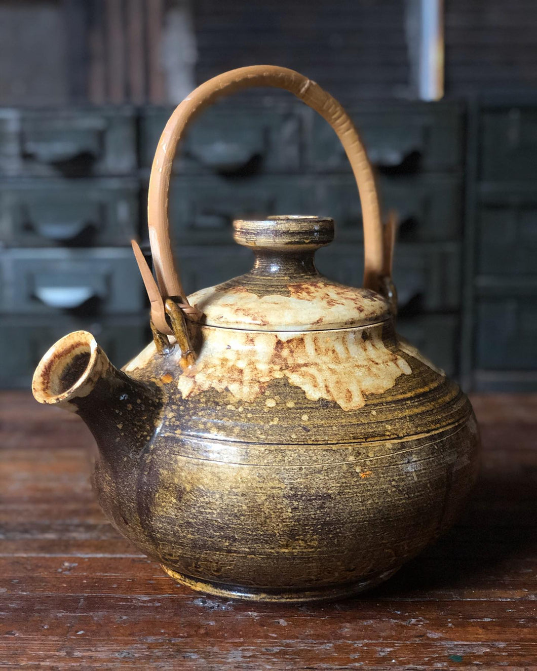 Homemade Ceramic Tea Kettle w/ Bamboo Handle