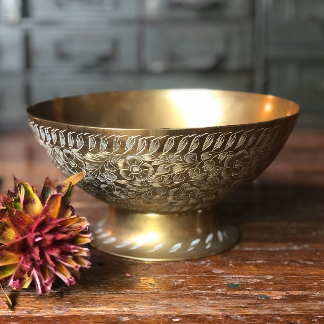 Etched Brass Pedestal Bowl