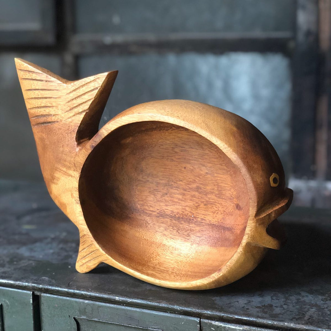 Carved Wood Fish Bowl