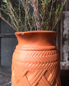 Terracotta Pitcher w/ Faux Weave