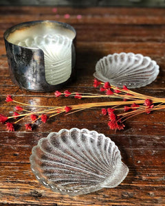 Stackable Shell Coasters / Ashtrays w/ Silver Holder