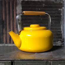 Load image into Gallery viewer, Yellow Enamel Tea Kettle