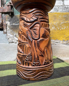 Carved Elephant Drum Plant Stand