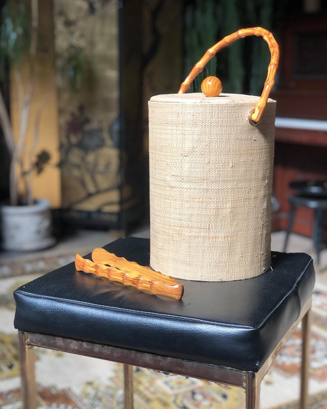 Faux Bamboo and Grasscloth Ice Bucket w/ Tongs