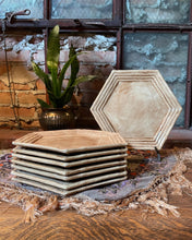 Load image into Gallery viewer, Faux Bamboo Hexagonal Ceramic Plate Set (8)