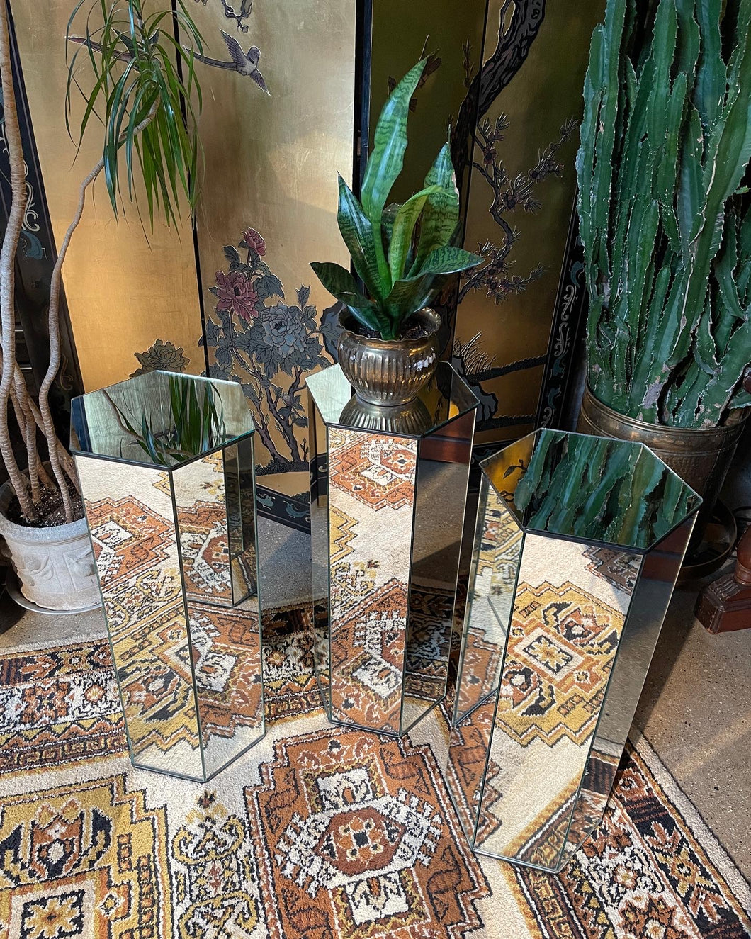 Hexagonal Mirrored Pedestals, Three (3) Available