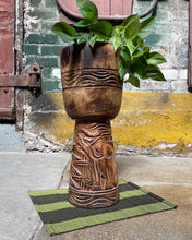 Load image into Gallery viewer, Carved Elephant Drum Plant Stand