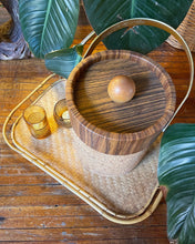 Load image into Gallery viewer, Faux Wood-Grain Vinyl and Cork Ice Bucket