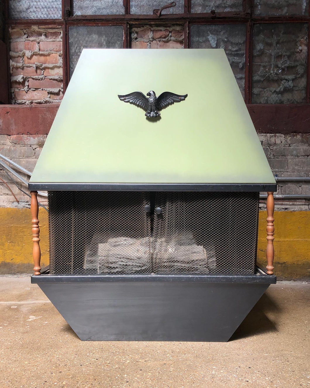 Mid-Century Avocado Electric Faux Fireplace Heater