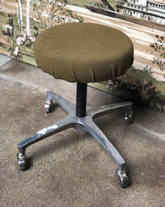 Reupholstered Army Green Rolling Stool
