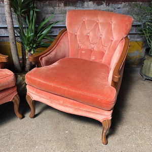 Salmon / Coral Tufted Armchair Set