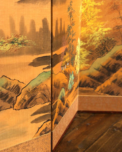 Hand-Painted 4-Panel Oriental Mountain Scene