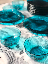 Load image into Gallery viewer, Turquoise-Blue Depression Glass, Set of 16.