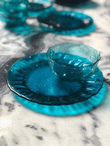 Turquoise-Blue Depression Glass, Set of 16.