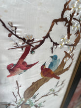 Load image into Gallery viewer, Framed Embroidered Silk Oriental Panel