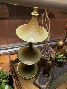 Mid-Century Brushed Metal and Brass Lamp