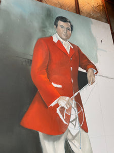 Unfinished Stephen Colbert Jockey Painting