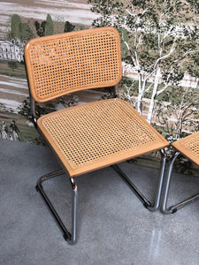 Chrome and Cane Chair Set (2)