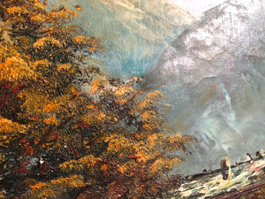 Large Mountainous Landscape Painting by Johnson