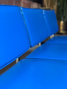 Blue Vinyl and Chrome Couch