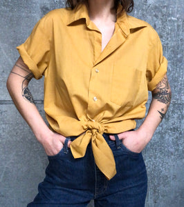 Short-Sleeved Mustard Button Down