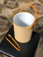 Load image into Gallery viewer, Faux Bamboo and Grasscloth Ice Bucket w/ Tongs