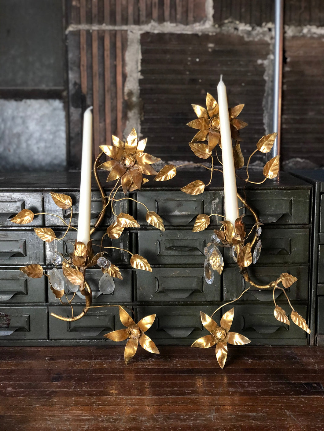 Italian Floral Candle Sconce Set (2)