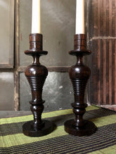 Load image into Gallery viewer, Mahogany Candlestick Holder Set (2)