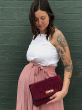 Load image into Gallery viewer, Burgundy Suede Clutch Bag