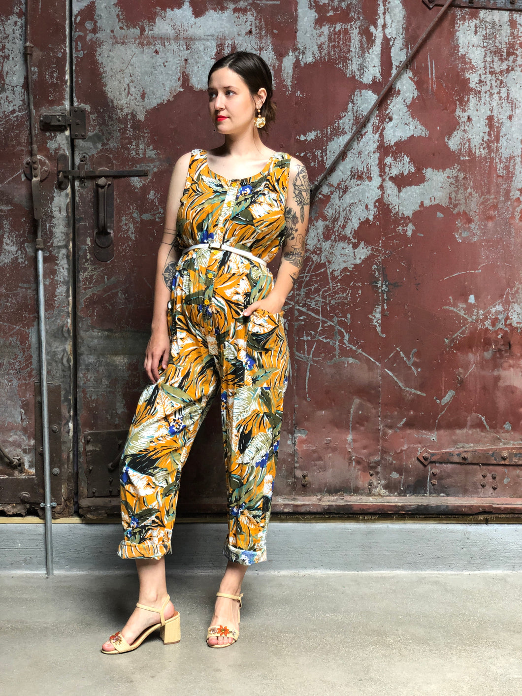 Mustard Tropical Jumpsuit