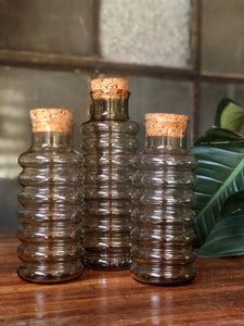 Danish Holmegaard Primula Smoked Glass Canister Set (3)