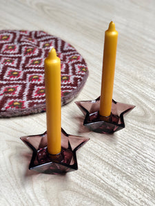 Amethyst Glass Star Candle Holders (2)