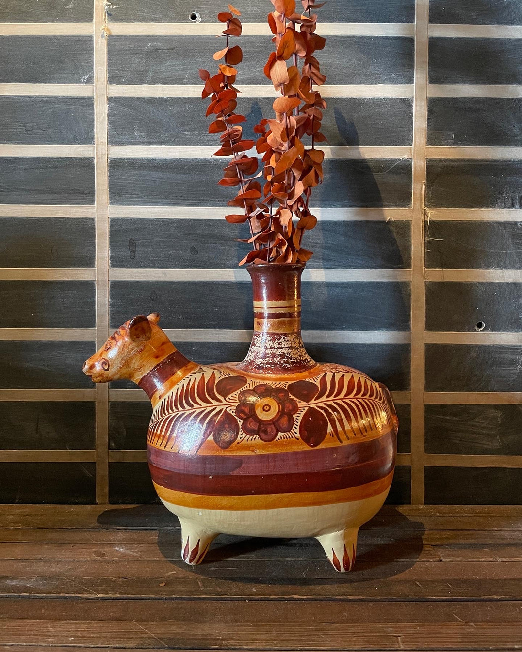 Handpainted Mexican Cow Vase