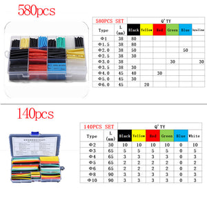 Heat shrink tube 560 / 580 / 280 / 140 / 164 / 800 / 328pcs heat shrinkable tube