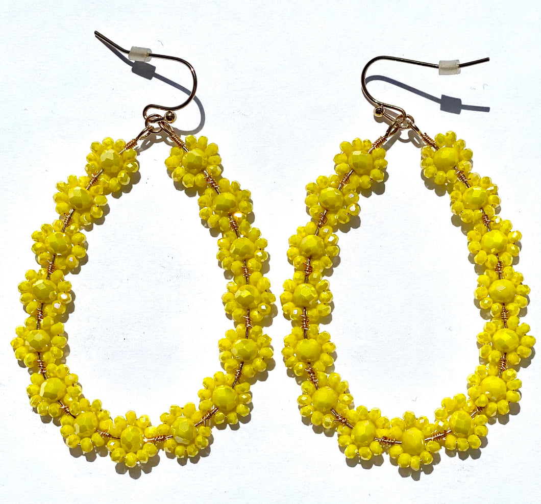 YELLOW TIER SHAPED HOOP EARRINGS- PIERCED