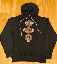 Load image into Gallery viewer, EMOJ BLACK HOODIE WITH CRYSTAL SHOELACE TIE