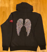 Load image into Gallery viewer, LEOPARD WINGS ON BACK BLACK HOODIE WITH CRYSTAL SHOELACE TIE